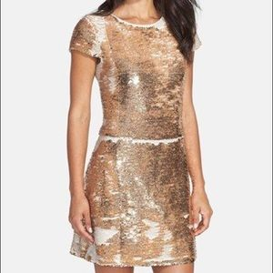Vince Camuto 14 Reverse Sequined Dress Gold White